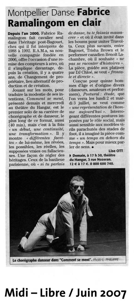 Comment se ment – Midi Libre – juin 2007