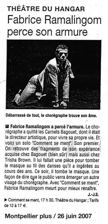 Comment se ment – Montpellier Plus – 26 juin 2007