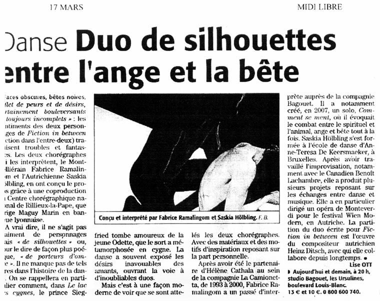 Fiction in between – Midi Libre – 17 mars 2009