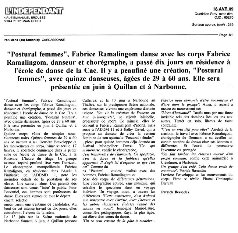 POSTURAL études – L'Indépendant – 18 avril 2009