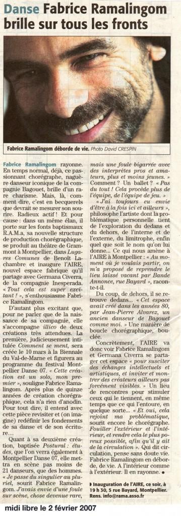 POSTURAL études – Midi Libre – 2 février 2007