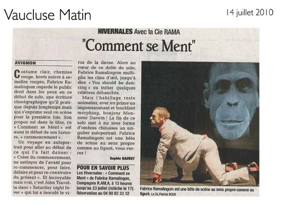 Comment se ment – Vaucluse Matin – 14 juillet 2010