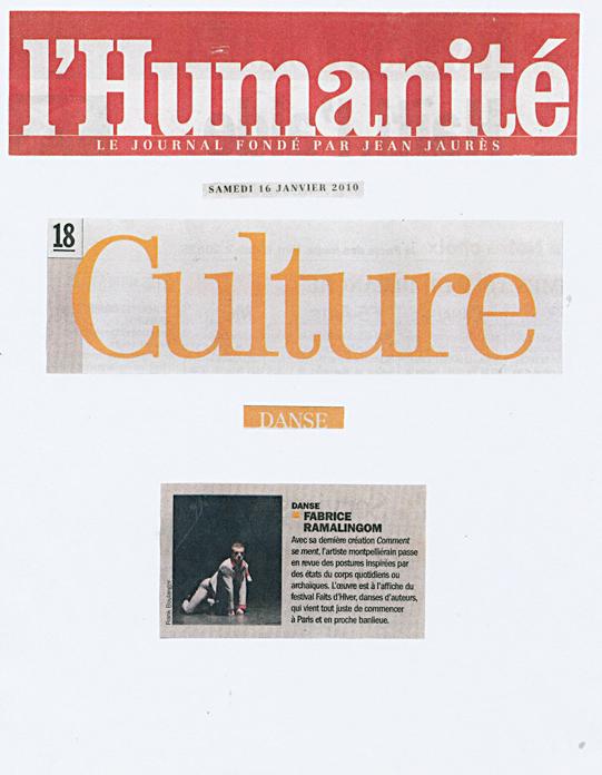 Comment se ment – L'Humanité – 16 janvier 2010