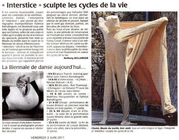 Interstice – Le courrier de l'ouest – 3 juin 2011