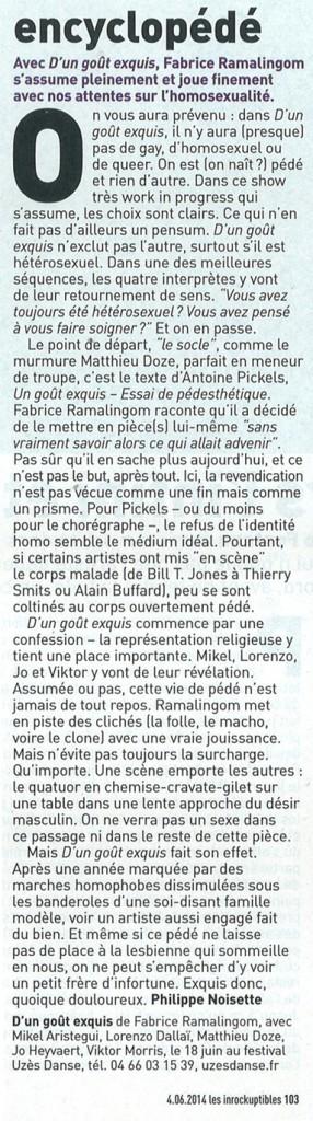 D'un goût exquis – Les Inrocks – 4 juin 2014