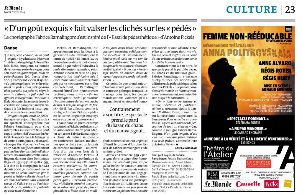 D'un goût exquis – Le Monde – 31 mars 2014